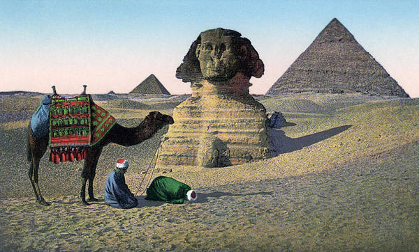 Famous People Digital Art - Praying Men At Great Sphinx by Graphicaartis