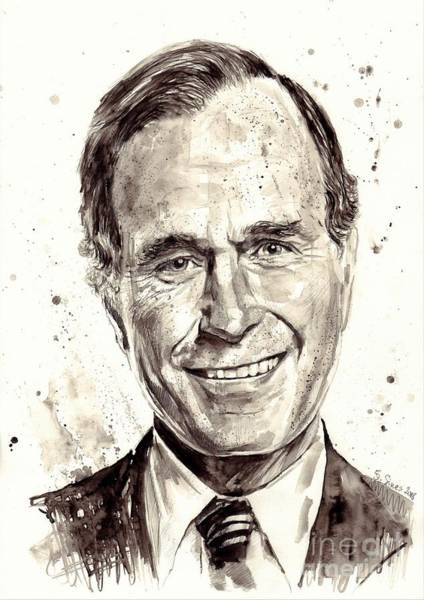 Power Painting - President George H. W. Bush Portrait by Suzann's Art