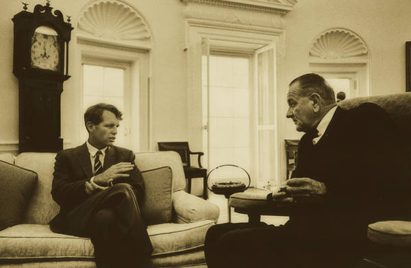 Wall Art - Photograph - President Lyndon Johnson And Robert Kennedy In The Oval Office 1 by Mountain Dreams