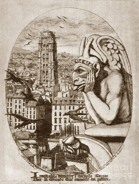 Photograph - Print Of Etching Gargoyle Of Nortre-dame Le Stryge 1853 By Charl by California Views Archives Mr Pat Hathaway Archives