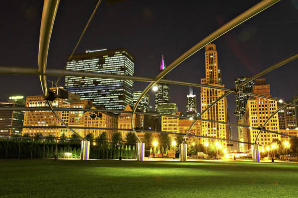 Photograph - Pritzker Pavilion Steel Construction At by Kim Karpeles