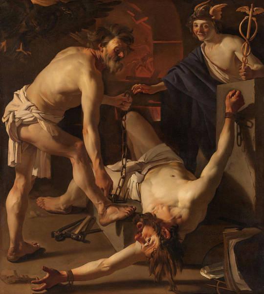 Wall Art - Painting - Prometheus Being Chained By Vulcan, 1623 by Dirck van Baburen