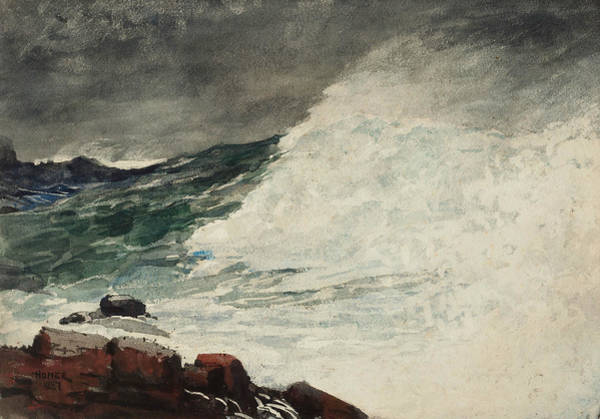 Wall Art - Drawing - Prout's Neck, Breaking Wave by Winslow Homer