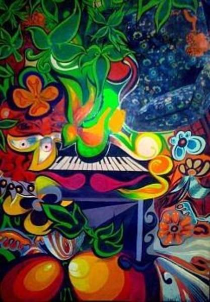 Baroque Mixed Media - Psychedelic Keyboard by John Baroque