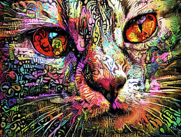 Digital Art - Psychedelic Tabby Cat Art by Peggy Collins