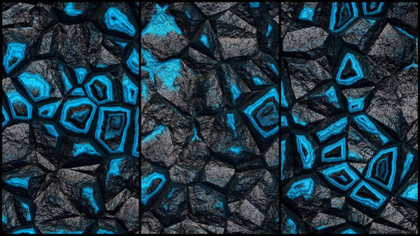 Digital Art - Punchy Blue Rock Wall Abstract Triptych by Don Northup
