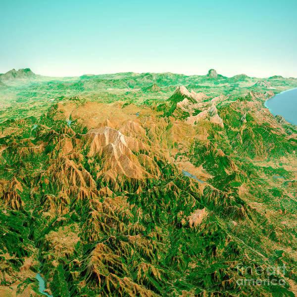 Wall Art - Digital Art - Punta La Marmora Sardinia Italy 3d Render Horizon Aerial View Fr by Frank Ramspott
