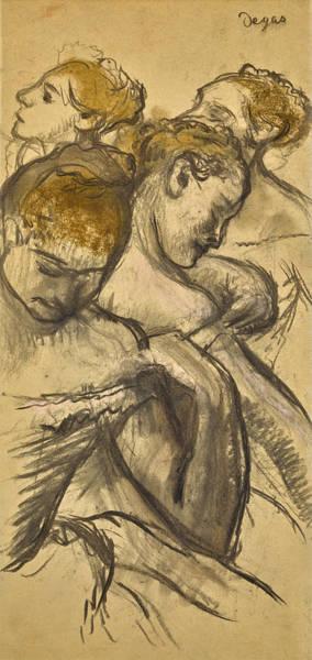 Drawing - Quatre Danseuses by Edgar Degas