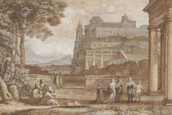 Wall Art - Drawing - Queen Esther Approaching The Palace Of Ahasuerus by Claude Lorrain