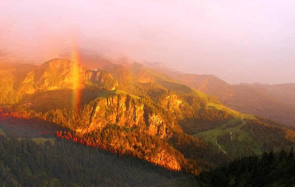 Wall Art - Digital Art - Rainbow In The Mountains by Alex Lim