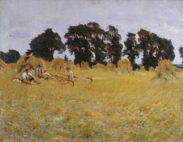 Wall Art - Painting - Reapers Resting In A Wheat Field by John Singer Sargent