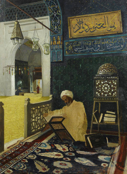 Pilgrimage Painting - Reciting The Quran by Osman Hamdi Bey