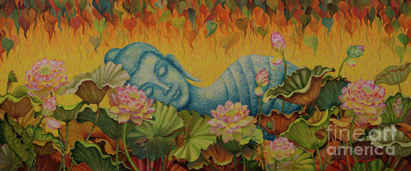 Wall Art - Painting - Reclining Buddha by Yuliya Glavnaya