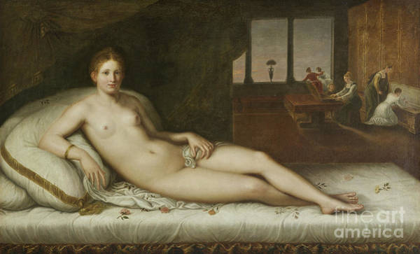 Wall Art - Painting - Reclining Venus  by Lambert Sustris