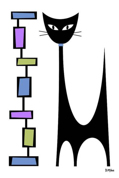 Digital Art - Rectangle Cat 2 by Donna Mibus
