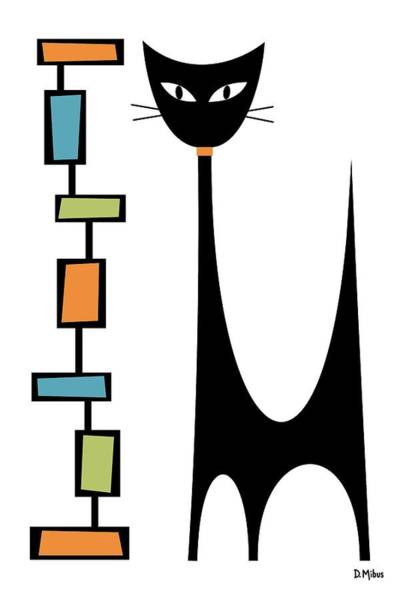 Digital Art - Rectangle Cat by Donna Mibus