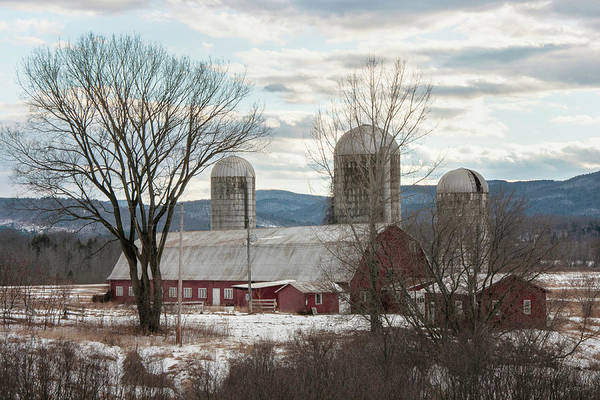 Photograph - Red Barn In Winter by Joann Vitali