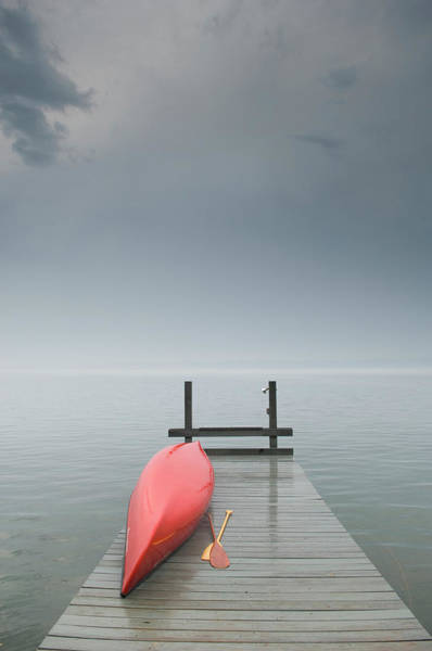 Outdoors Photograph - Red Canoe On Dock by Zia Soleil