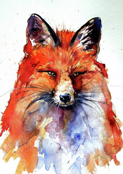 Wall Art - Painting - Red Fox Watching by Kovacs Anna Brigitta