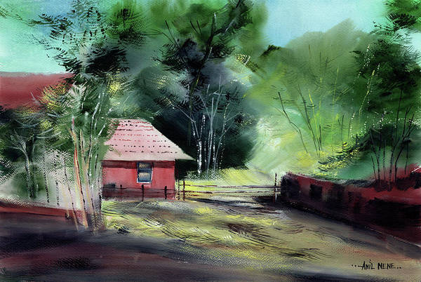 Painting - Red House R by Anil Nene
