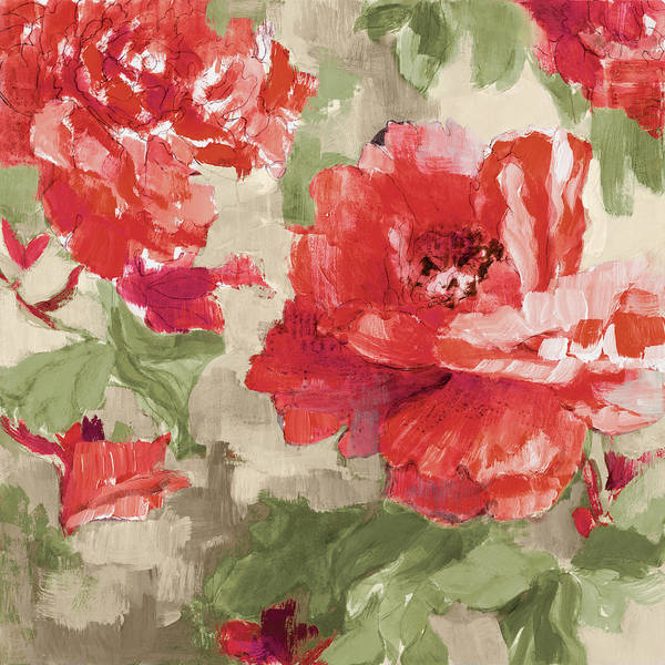Wall Art - Painting - Red Modern Peonies I by Lanie Loreth