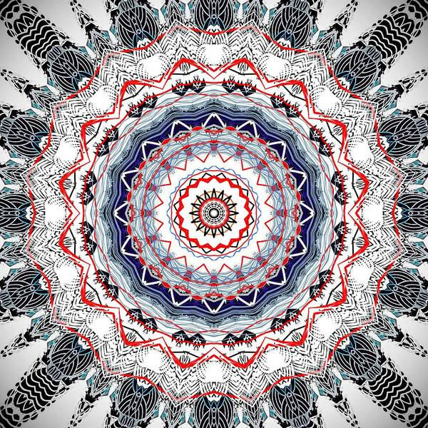Digital Art - Red White Blue Mandala by Sheila Wenzel