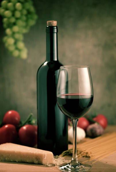 Italian Wine Photograph - Red Wine And Food, Italian Style by Kontrast-fotodesign