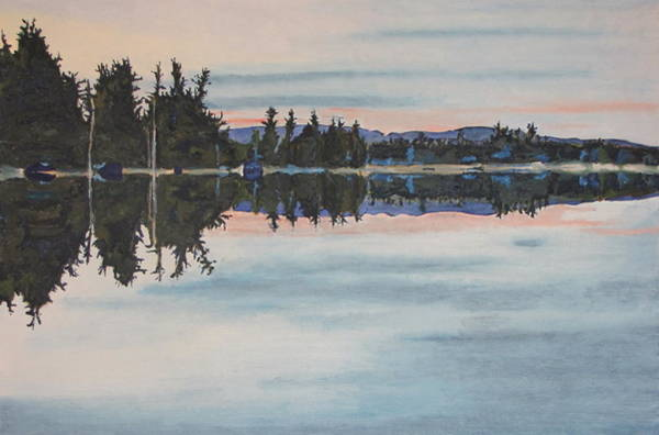 Wall Art - Painting - Reflection At Barbue Lake Frontenac National Park Quebec Canada by Francois Fournier