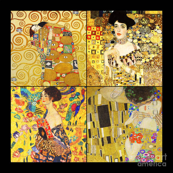 Wall Art - Photograph - Remastered Art By Gustav Klimt Four Squares 20190303 by Wingsdomain Art and Photography