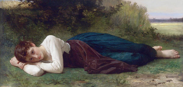 Wall Art - Painting - Rest - Young Girl Lying Down by William-Adolphe Bouguereau