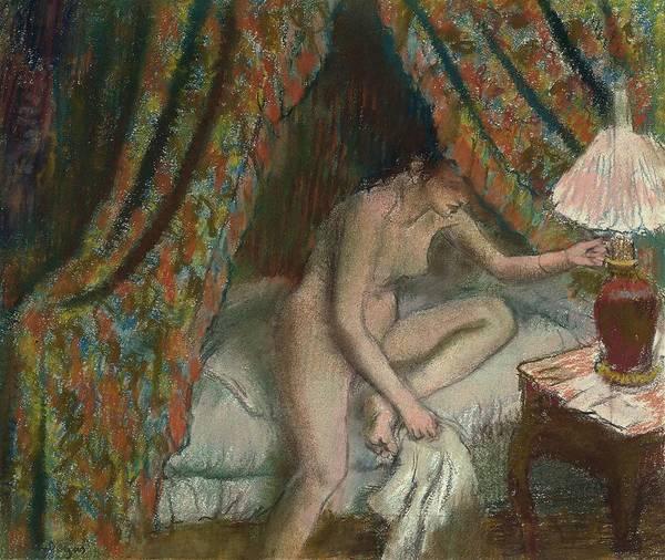 Pastel - Retiring by Edgar Degas