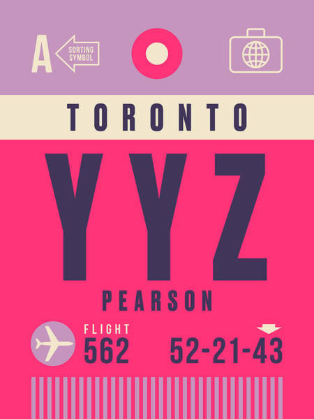Wall Art - Digital Art - Retro Airline Luggage Tag - Yyz Toronto Canada by Ivan Krpan