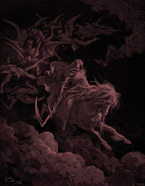 Snorting Wall Art - Painting - Revelation Vision Of Death, By Gustave Dore by Gustave Dore