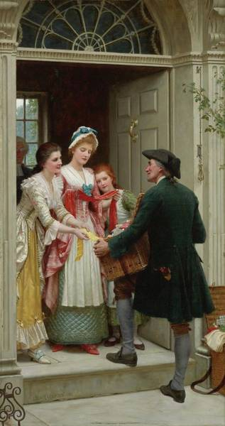 Wall Art - Painting - Ribbons And Laces For Very Pretty Faces, 19th Century by Edmund Blair Leighton
