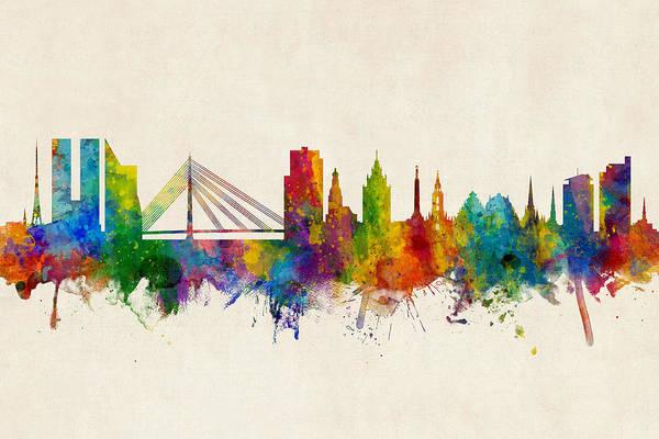 Digital Art - Riga Latvia Skyline by Michael Tompsett