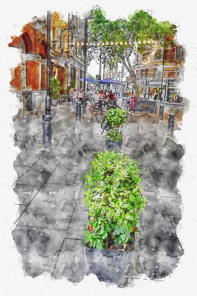 Wall Art - Digital Art - River #watercolor #sketch #river #city by TintoDesigns