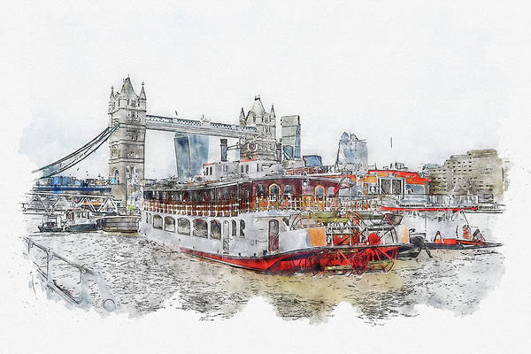 Wall Art - Digital Art - River #watercolor #sketch #river #water by TintoDesigns