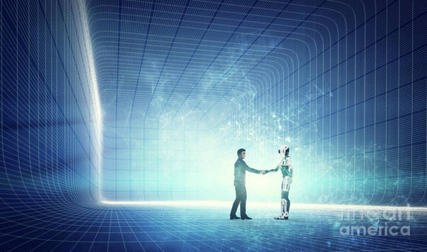 Photograph - Robot And Businessman Shaking Hands On Modern Tech Background. by Michal Bednarek