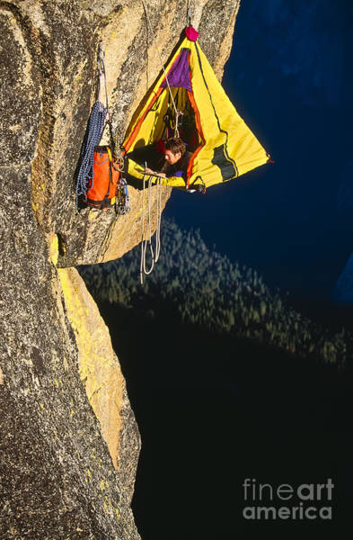 Courage Wall Art - Photograph - Rock Climber Bivouacked In His by Greg Epperson