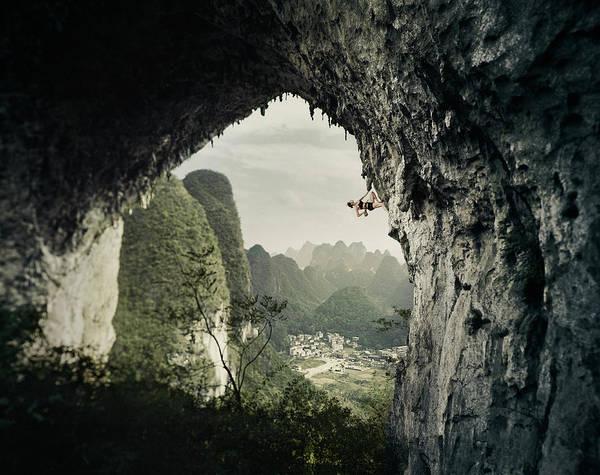 Hanging Rock Photograph - Rock Climbing At Moon Hill by Adam Pretty