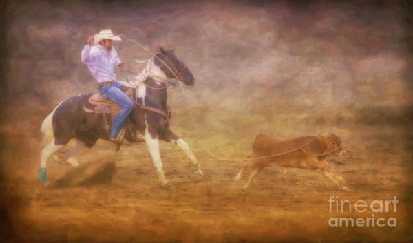 Bucking Bronco Digital Art - Rodeo Cowboy Calf Roping by Randy Steele