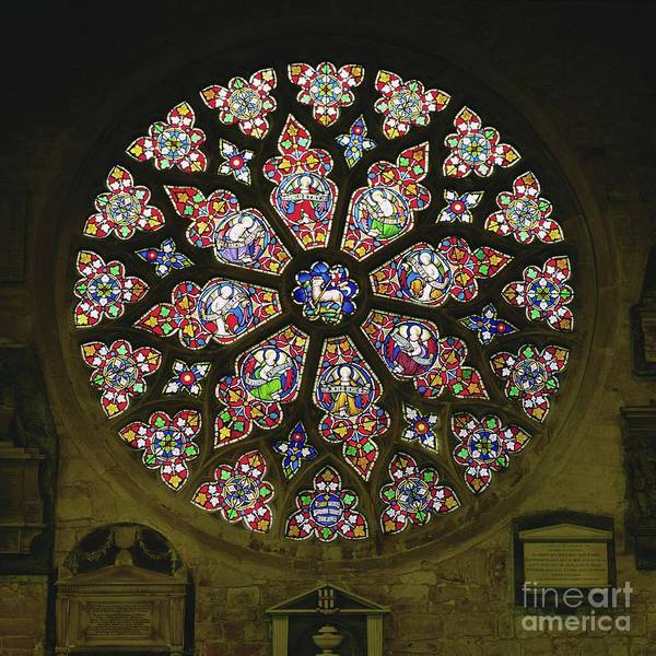 Wall Art - Photograph - Rose Window, Stained Glass by English School