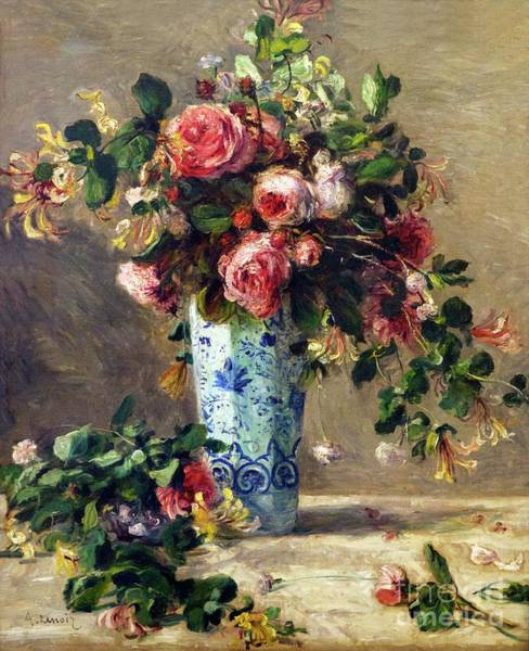 Wall Art - Photograph - Roses And Jasmine In A Delft Vase by Peter Barritt