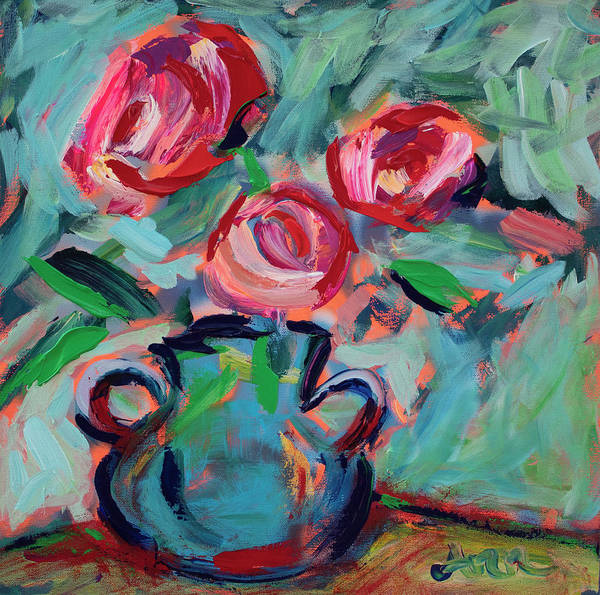 Wall Art - Painting - Roses Are Red by Ann Lutz