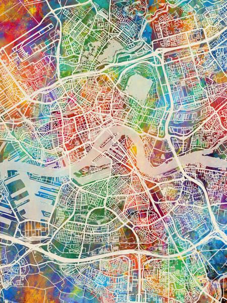 Digital Art - Rotterdam Netherlands City Map by Michael Tompsett