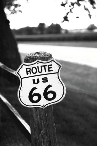 Photograph - Route 66 Shield 2012 Bw #3 by Frank Romeo