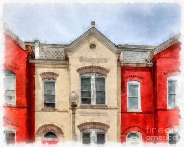 Digital Art - Row Houses Washington Dc by Edward Fielding