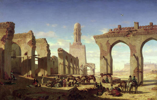 Collapse Painting - Ruins Of The Mosque Of The Caliph El Haken In Cairo by Prosper Georges Antoine Marilhat