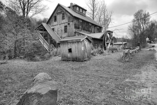Photograph - Rural  Northern Vermont Grist Mill Black And White by Adam Jewell