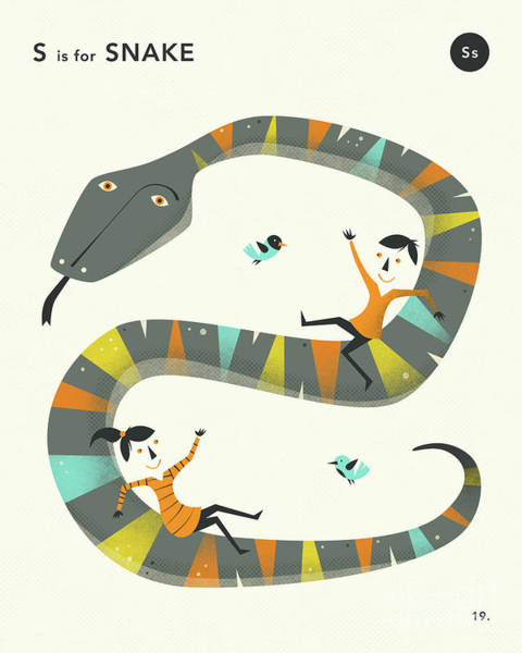 Illustrator Wall Art - Digital Art - S Is For Snake 2 by Jazzberry Blue